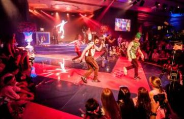 Break dancer and street dancers